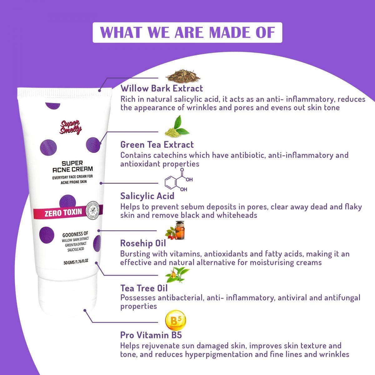 best acne cream in india | Supersmelly acne and pimple cream | acne cream for men | green tea extract face cream | tea tree oil face cream for oily acne prone skin